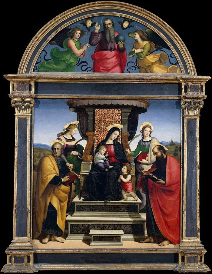 Madonna and Child Enthroned with Saints - by Raphael